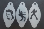 3 x Elvis Presley stencils for face painting / many other uses Porthcawl festival